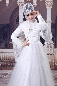 fantastic high collar full length princess muslim wedding dresses