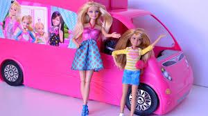 barbie trailer acampamento glam camper abrindo brinquedos