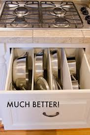 how to organize pots and pans in a cupboard cleaning diy organized pots and pans cookware drawer