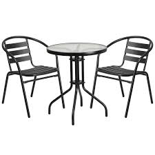 table and 2 stack chair set by flash furniture round glass and