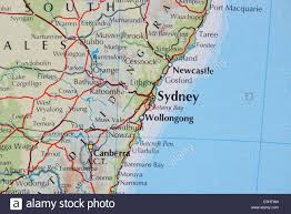 sydney australia map atlas map showing the cities of sydney new south wales australia