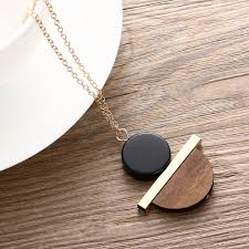 wood pendants necklace images 1 pcs new geometric circular resin wood pendant gold chain long jpg