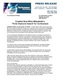 mitsubishi electric cooling and heating mitsubishi 3 diamond contractor award comfort now by bob mcallister