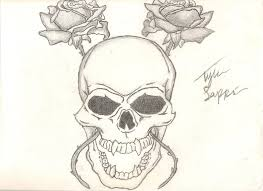 easy skull with roses drawing clipartxtras