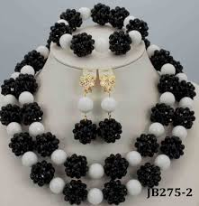 african beads necklace sets images Amazing black and white african beads jewelry set nigerian beads jpg