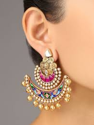 earrings online india buy pink golden festive meenakari earrings 92 5 sterling