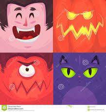Halloween Monster Faces by Happy Halloween Set Of Halloween Characters Stock Vector Image