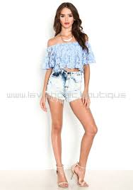 light blue off the shoulder top blue off the shoulder floral lace crop top