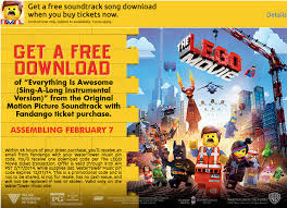 going to the lego movie this weekend get a free song download
