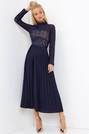midi dress navy crochet lace midi dress with pleats