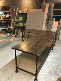 L Shape Desks Farmhouse Office Desk In L Shape Made With Reclaimed Wood And Pipe