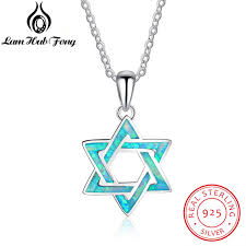 sted necklaces hexagram blue opal pendants necklaces 925 sterling silver