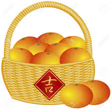 new years basket new year basket of mandarin oranges with fortune