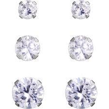 cubic zirconia earrings 3 4 5mm cubic zirconia 10kt white gold stud earrings set of 3
