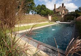 In ground swimming pool stone natural outdoor LANDSCAPED