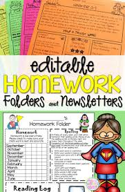 Editable Homework folders and newsletters   Ideas to help kindergarten  first  or grade students with organization  An easy way to communicate with their