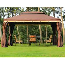 patio gazebo canopy outsunny 10 u0027x13 u0027 aluminum frame double top gazebo canopy w mesh