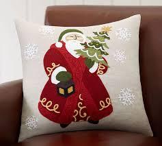 Christmas Pillows Pottery Barn Santa Crewel Pillow Cover Pottery Barn
