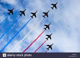 The France Flag Paris France July 26 2015 French Air Force Fighter Jets Mark