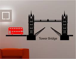 london tower bridge bus wall art sticker decal kids lounge kitchen
