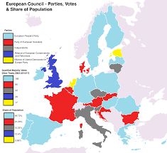 Map Of The Europe oc map of the current party makeup of the european council along