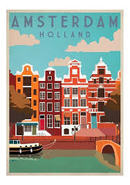 travel posters images Vintage travel posters universal prints a4 amsterdam by universal jpg