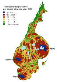 Map Sweden Visualisation The Shape Of Sweden According To Population