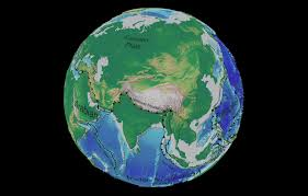 asia globe map asia tectonic and bathymetric map