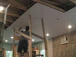 Suspended Drywall Ceiling by Install Ceiling Drywall With One Person Home Improvement