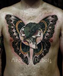 unique designed colorful chest tattoo of woman and man faces