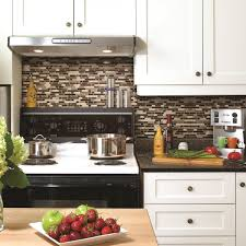 Kitchen Backsplashes For White Cabinets by Decor Peel And Stick Mosaic Tile Backsplash With White Kitchen