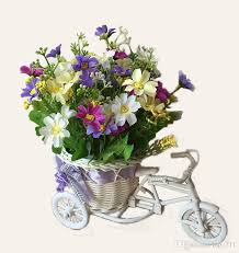 plastic flowers bicycle plastic rattan vase with fabric artificial flowers