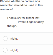 using semicolons and commas practice khan academy