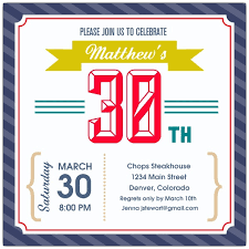vintage stripes navy 30th birthday invitations paperstyle