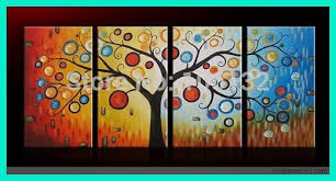 Home Decor Metal Wall Art Aliexpress Com Buy Framed 4 Panel Large Money Tree Wall Art