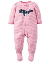 s baby one footed stripe whale pajamas baby