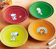 peanuts thanksgiving plates pottery barn