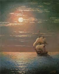 16 x 20 framed original oil painting seascape terranean night ship