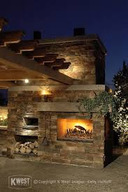 Pizza Oven Fireplace Combo by Stone Fireplace Pizza Oven U0026 Night Lighting Modern Landscape