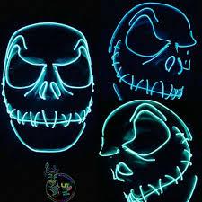 jack skellington style light up mask 10 ft of el wire halloween