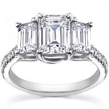 three emerald cut engagement rings 2 10 ct emerald cut engagement ring in platinum
