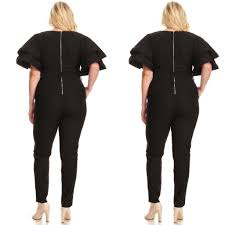 s sleeve jumpsuit buy plus size black ruffle sleeve jumpsuit at social butterfly