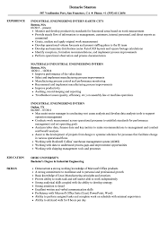 resume objective for engineering internships industrial engineering intern resume sles velvet jobs