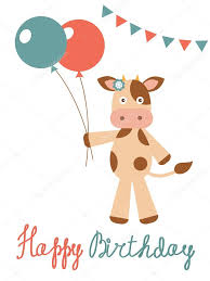 Cow Birthday Card Birthday Card With Cow Holding Balloons Stock Vector Japanez