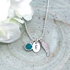 handmade angel necklace images Personalized angel necklace hand stamped initial jpg