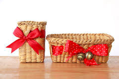 empty gift baskets empty vintage wicker basket wooden table isolated stock photos