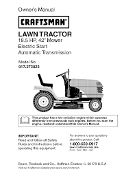 craftsman lawn mower 917 273823 user guide manualsonline com