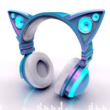 light up cat headphones cat ear shaped headphones glow in bright led lights