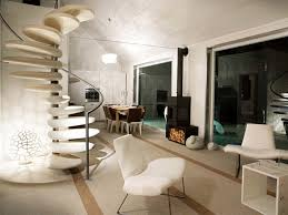 architecture custom luxury home designs with pointed roof and white spiral stairs with two unique fabric armless chairs and white wooden cube table also