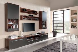 wall mounted tv cabinet design ideas made of solid wood in brown